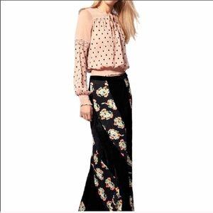 Free People Twisted Velvet Maxi Skirt Boho Hippy